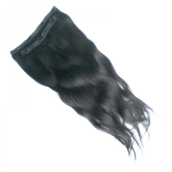 Echthaar Clip-In Extensions leicht gewellt - Dunkelbraun