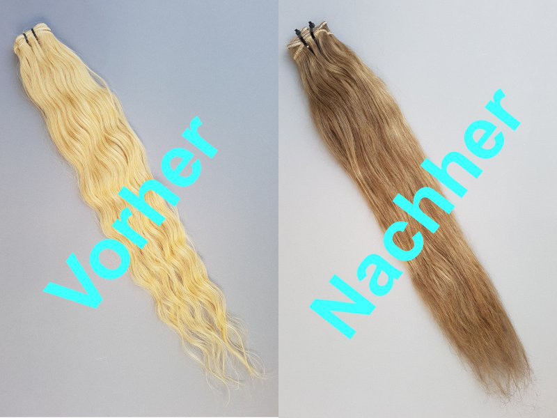 Blonde Echthaar Extensions dunkler färben