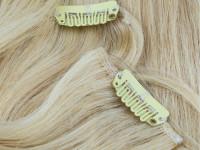 Gefärbte Clip-In Extensions Indisches Echthaar - braun - blond